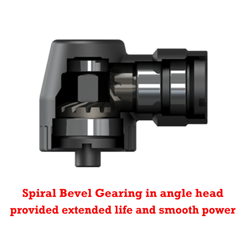 Spiral bevel gearing in angle head provided extended life and smooth power