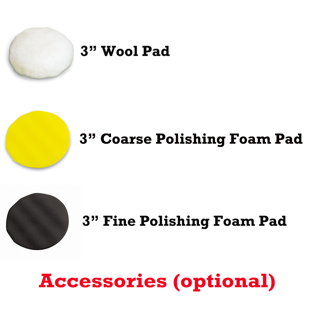 "3"" Wool Pad ,3"" Coarse Polishing Foam Pad & 3"" Fine Polishing Foam Pad"