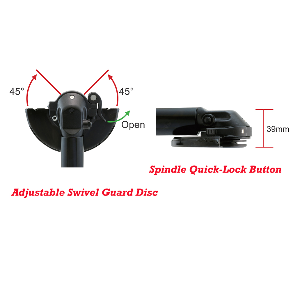 Adjustable Swivel Guard Disc & Spindle Quick-Lock Button