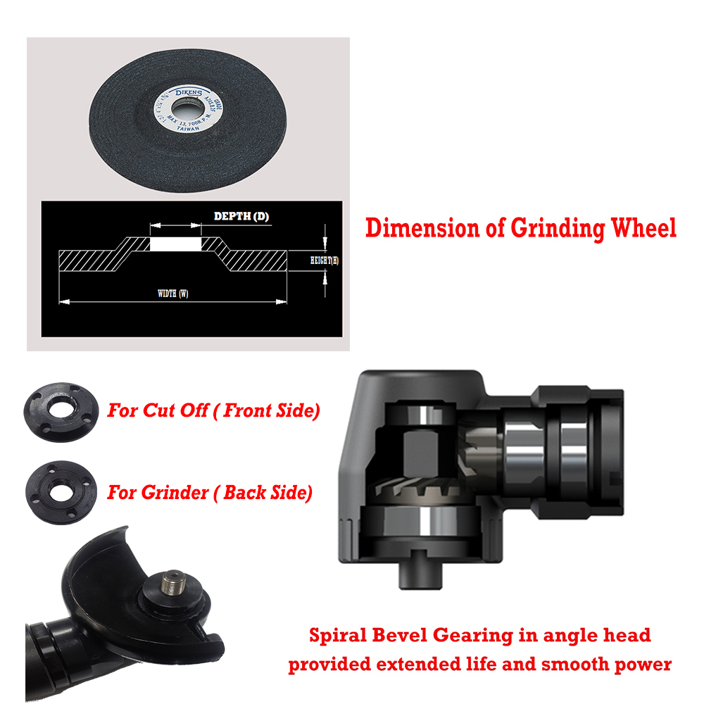 Dimension of Grinding Wheel & Spiral bevel gearing in angle head provided extended life and smooth power