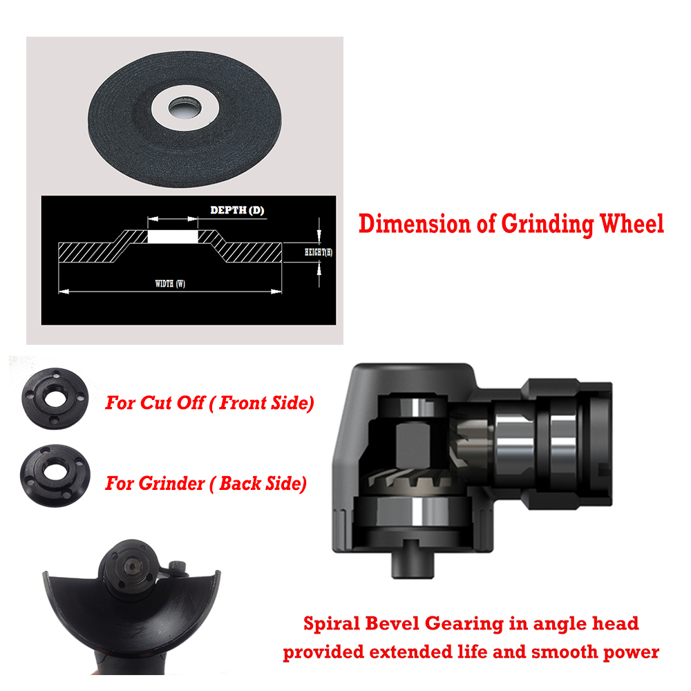 Spiral bevel gearing in angle head provided extended life and smooth power & Dimension of Grinding Wheel