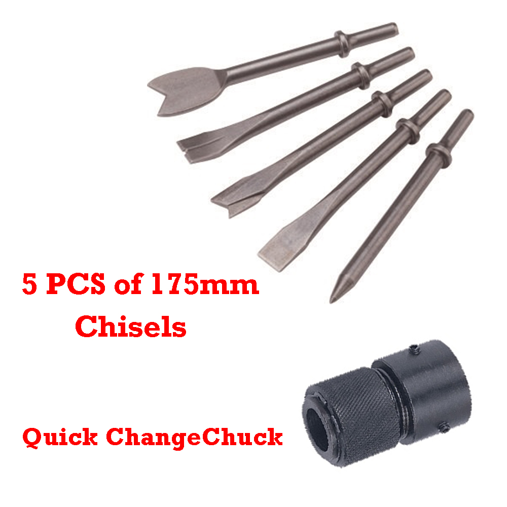 5PCS of 175mm, S45C Steel Chisels & Quick Change Chuck for option (extra buy)