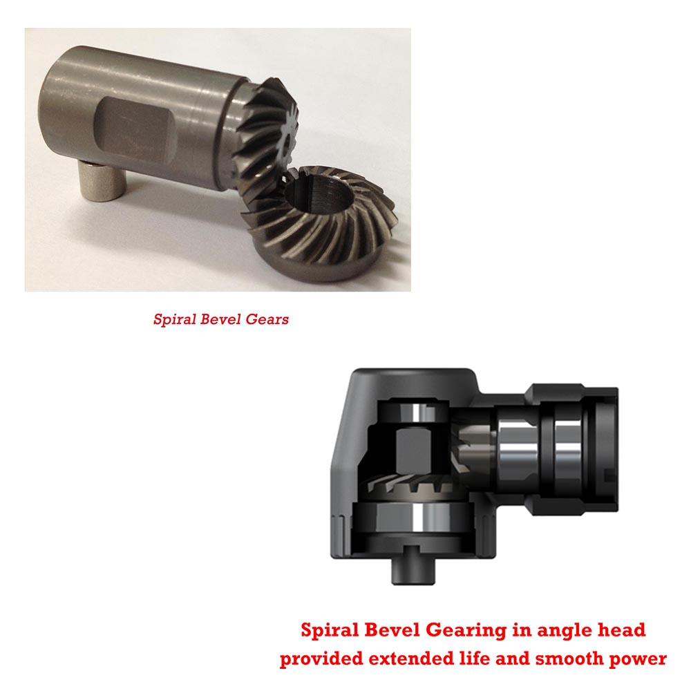 Spiral Bevel Gears & Spiral bevel gearing in angle head provided extended life and smooth power