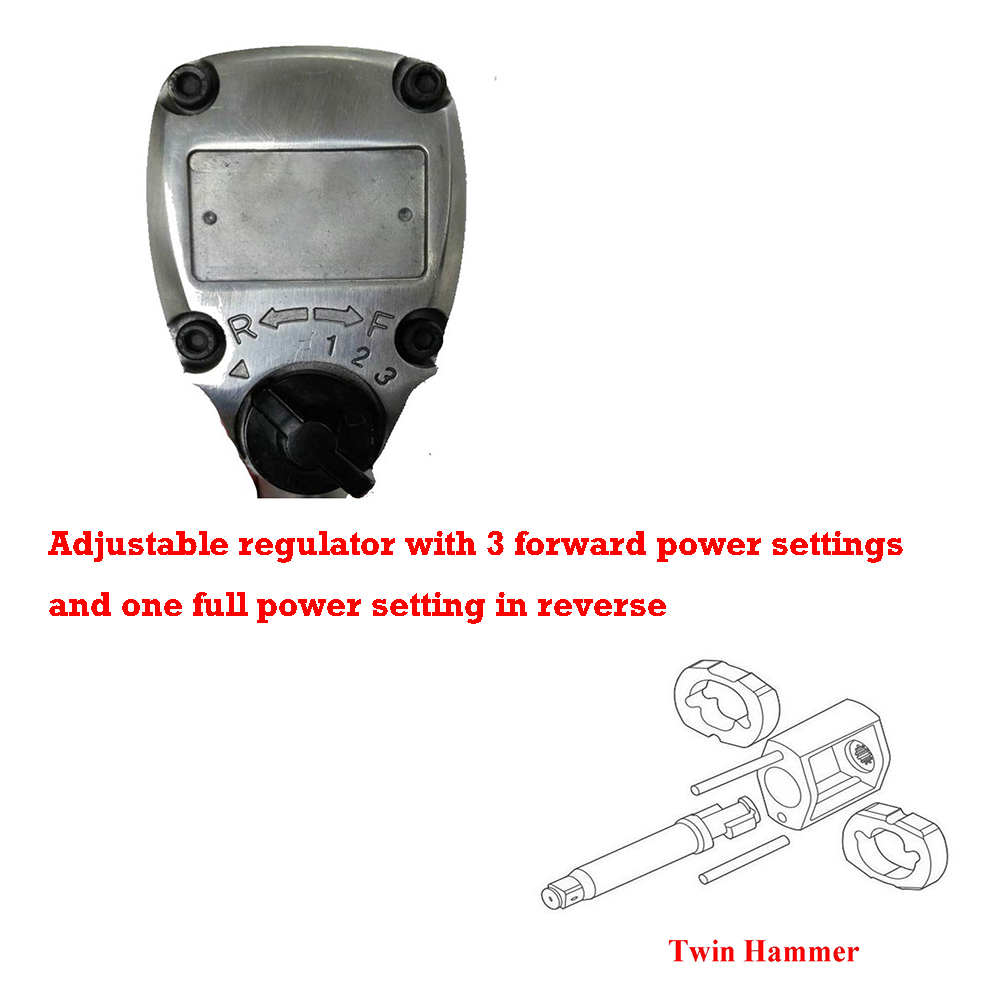 Adjustable regulator with 3 forward power settings and one full power setting in reverse & Twin hammer clutch