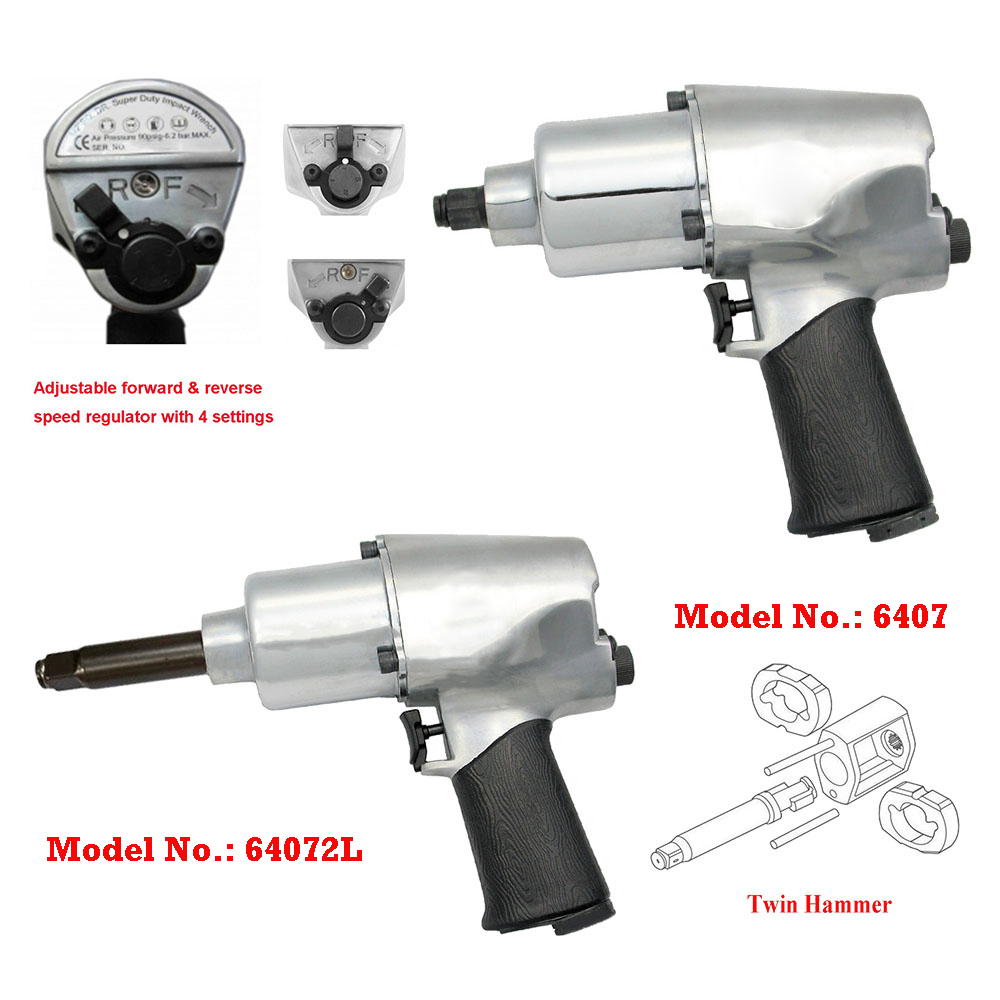 "Model No.: 6407 / 64072L, 1/2"" with 1/2"" Extended 2"" Anvil Air Impact Wrench, 7,000RPM / 700Ft-lbs. (949 Nm) & 650Ft-lbs. (881 Nm)"