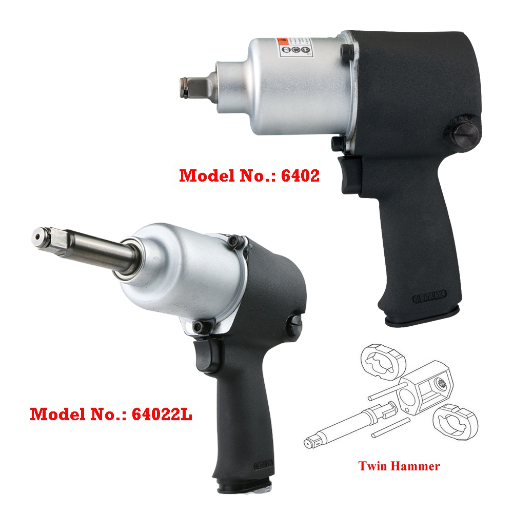"Model No.: 6402 / 64022L, 1/2"" or 1/2"" with Extended 2"" Air Impact Wrench, 7,400RPM / 500Ft-lbs. (678 Nm) & 450Ft-lbs. (610 Nm)"